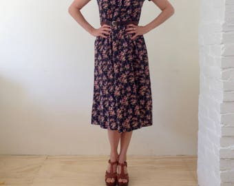 vintage 90's floral dress midi normcore grunge dress hippy boho light RAYON prairie festival button up elastic waist
