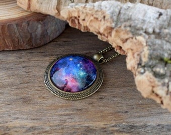 Universe necklace, Colorful galaxy necklace, Glass universe pendant, Space necklace Nebula necklace, Galaxy pendant, Space lover gift UJ 075
