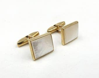 9ct Gold Mother Of Pearl Cufflinks | 9k Swivel Back Rectangle Cuff Links