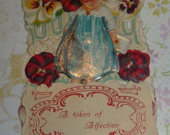 Cute Girl With Valentine  and Pansies Fold Down Die Cut Vintage Valen tine Card