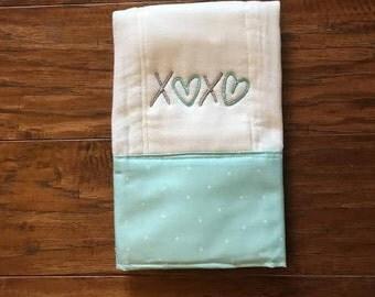 Hugs and Kisses /Burp Cloth. Baby Burp Cloths. Cloth diaper Burp /single diaper/Light Aqua Dot- Baby Shower- Baby Gift. Newborn, Girl, Boy