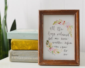 All My Days | Psalm 139:16 | Baby Gift | All The Days Ordained For Me | Nursery