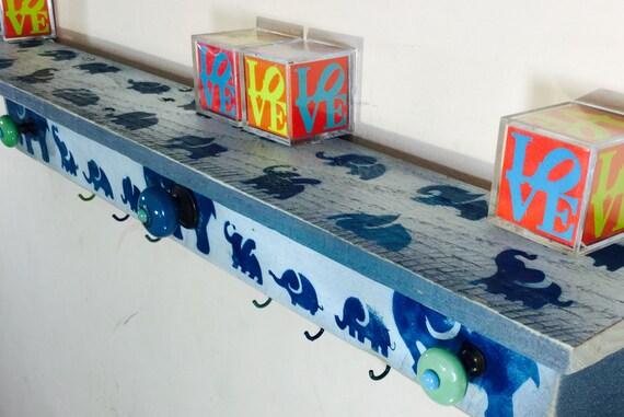 Newborn Wooden Nursery decor /custom elephant wall art /baby boy shower gift /pallet wood shelf organizer 6 blue hooks 3 hand-painted knobs