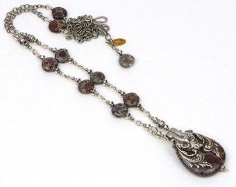 Brown Gemstone Necklace Jewelry, Jasper Gemstone Jewelry, Boho Gemstone Necklace, Jasper Gemstone Necklace, Boho Jewelry Gift For Her