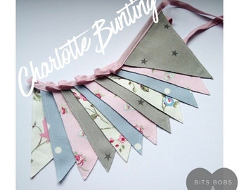 Charlotte Bunting - Fabric Bunting - Nursery Decor/ Kids Bedroom Decor/ Playroom Decor/ Girls Bunting