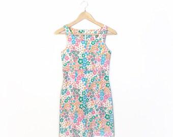 Vintage 90s Flower Power Mod Bodycon Mini Dress, Size S