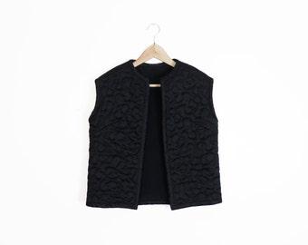Vintage 60s Satin Quilted Bed Jacket Loungewear Vest Size M
