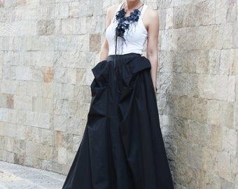 Maxi Skirt / Long Black Skirt / Cotton Skirt / Boho Skirt / Extravagant Skirt / Oversized Skirt / Full Skirt S14517