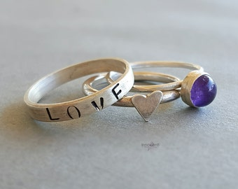 Amethyst Stack Ring Gemstone Stack Rings Silver Stack Rings Set Stacking Amethyst Ring Amethyst Ring Set Gemstone Ring Set Three Ring Set
