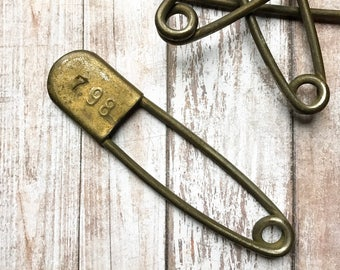 Vintage Safety Pin - 5 inch Numbered Laundry Pins - Antique Stamped Metal Horse Blanket Pin - Kilt Pin - Diaper Pin - 798 Military Pin