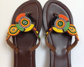 Hand Made Leather Sandals - Beaded Strap 16