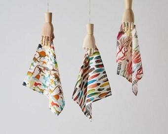 Pocket Square Handkerchief Set of 3 of your choice! Dinosaurs, Animals, Alice in Wonderland, Shakespeare, Flamingos, London, Hanky Set