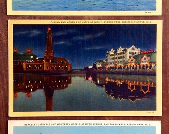 Asbury, Park, Ocean Grove, NJ, Vintage Postcards, Lot of three, Linen, 1940's-50's, The Convention Hall and Casino, North End Hotel, Retro