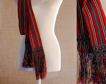 Woven sash belt in indigenous loom, The Sash is a finger woven belt made of wool,Look Boho corset Fabric , Pendant Sash  Accessory Woven