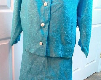 Lovely Classy Jackie O Style Devonshire Custom Made Blue Skirt and Jacket Set