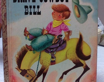 Vintage Little Golden Book Brave Cowboy Bill A Title Complete Puzzle Very Rare Book