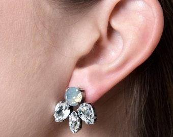 Crystal stud earrings - gift for a bride - maid of honour - cluster crystal earrings - silver bridal earrings - swarovski jewellery - opal