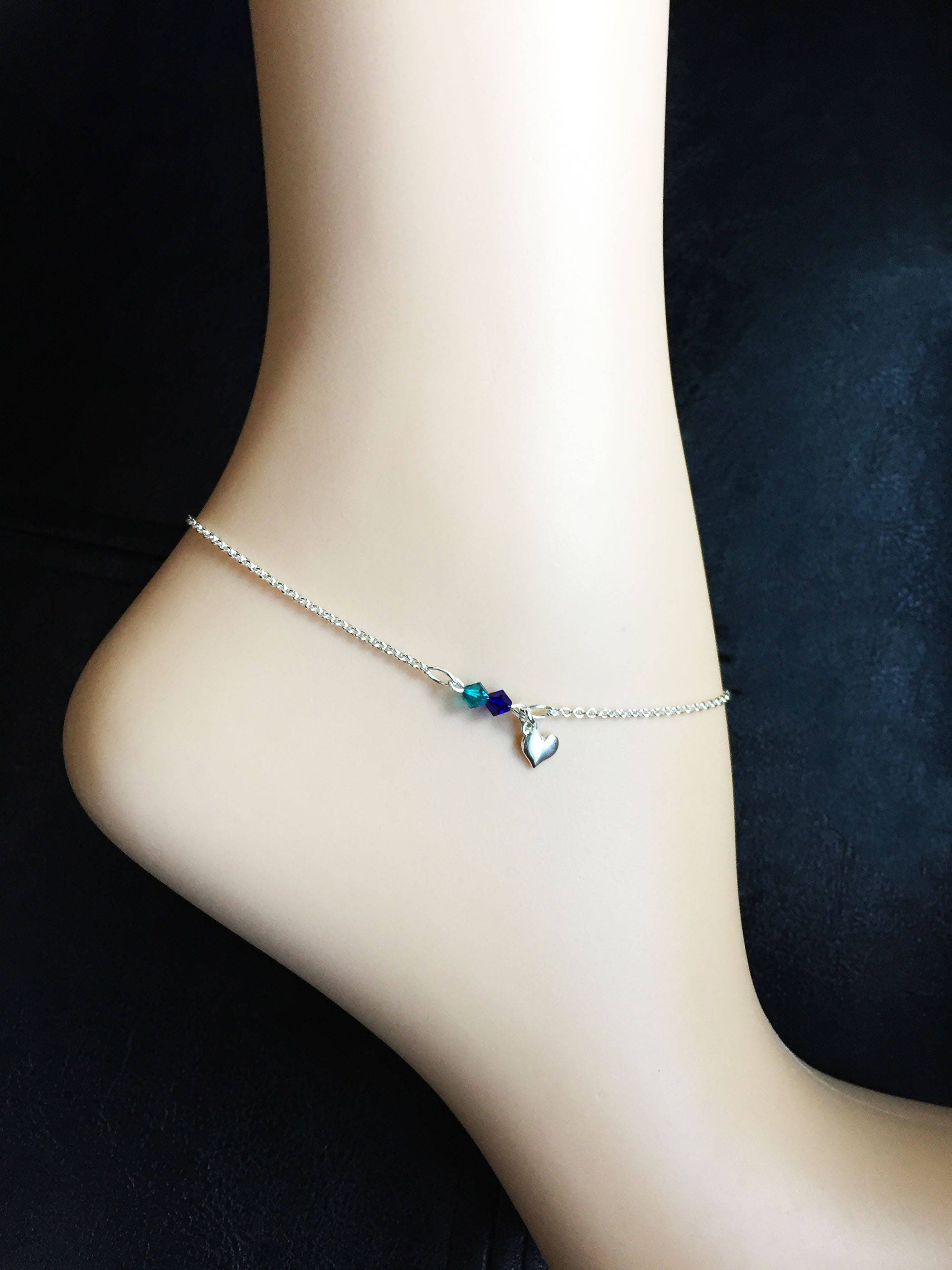 bracelet infinity erinite aquamarine birthstone stamped il hand personalized hearts fullxfull march p gift anklet or swarovski
