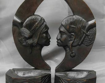 Old vintage pair of hand carved wooden bookends Native Amazon tribal people wood carvings