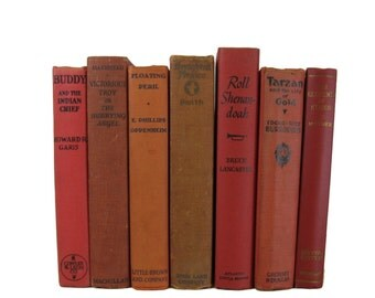 Dark Red Tan Vintage Books , Red Book Bundle ,  Red Decorative Books , Wedding Prop , Photo Prop , Vintage Books , Old Books