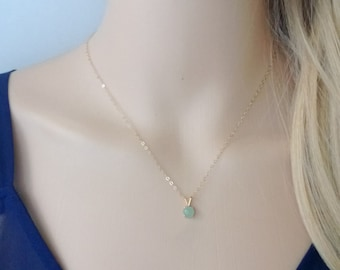 Tiny aventurine necklace 14Kt gold-filled; green gemstone necklace; small pendant necklace; round gemstone pendant