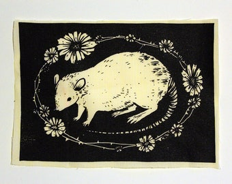 Rat Floral screenprinted patch
