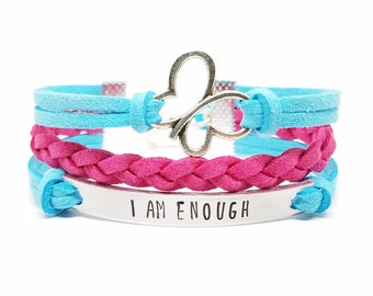 Affirmation Jewelry   I am Enough Bracelet   Butterfly Charm Bracelet   Inspirational Girls Bracelet   Kids Jewelry   Empowerment Bracelet
