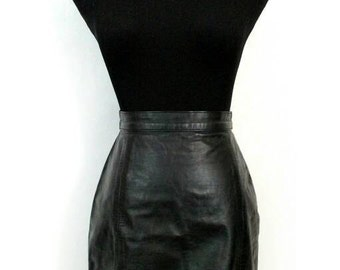 80s 90s Leather Skirt, Vintage Wilson's Leather Black Mini Pencil Skirt Size 6 Six