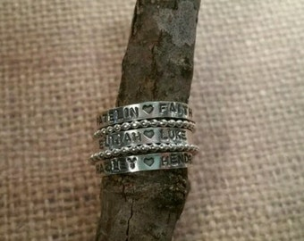 Stacking RINGS-Personalized with MULTIPLE names handstamped with BALL spacer (5)
