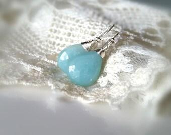 Natural Blue Amazonite Earrings, Large Amazonite Drops, Sterling Silver Earrings, Wire Wrap Gemstone Earrings, Dangle Earringa