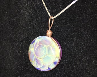 Glass Floral Rose Gold Wire Pendant