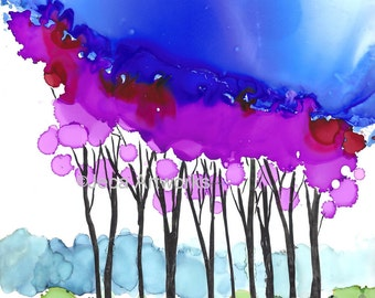 "Print ""Purple Trees"" with Mat - Vibrant Alcohol Ink Print - Ready for your frame"
