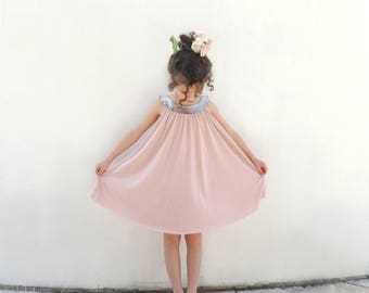 Pink Twirl Dress, Girls Rose Gold Summer Dress, Pink Powder Girls Dress, Pink Hipster Girls Dress,  New Collection- By PetitWild