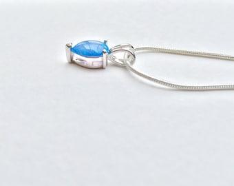 blue fire opal necklace, blue fire opal pendant, teardrop opal necklace, teardrop opal pendant, silver opal necklace, silver opal pendant