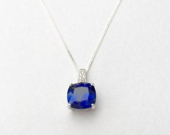 Sapphire necklace, 4.7ct cushion cut square sapphire pendant, 925 sterling silver sapphire necklace, silver sapphire pendant
