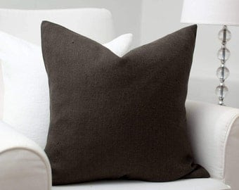 "Dark grey luxury linen pillow 20""x20"" / stonewashed linen pillow / decorative linen pillows /grey linen cushion /linen cushions/linen fabric"
