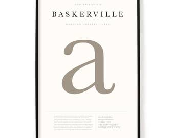 "Baskerville Poster, Screen Printed, Archival Quality, Wall Art, Poster, Designer Gift, Typography Print, 24"" x 36"""