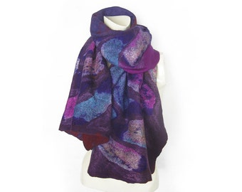 Felted Scarf Shawl Nuno Wool Silk with Tie Dye Silk Pieces Hand Felted Scarf Purple Turquoise
