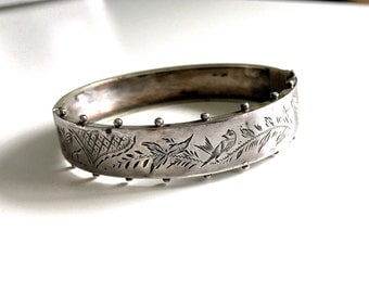 Antique Victorian Bird Sterling Silver Bangle Bracelet - Aesthetic Movement Circa 1880s