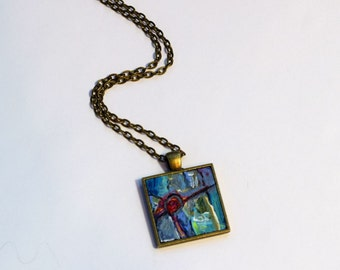 Hand Painted Art Necklace , FREE Shipping, One of a Kind, Wearable Art, Handpainted Pendant, Abstract Painting, Acrylic Painting, Red, blue