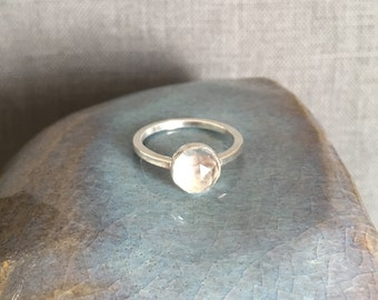 White Topaz Ring - Size 6.5 - White Topaz Engagement Ring - Rose Cut Gem - Sparkly Ring - Unique Engagement Ring - OOAK - Stackable Ring