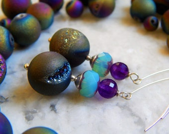 A Rainbow of Agate Earrings -  Rainbow Titanium Druzy Agates, Faceted Amethysts, Czech Glass & Artisan-Made Sterling Silver Ear Wires