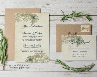 peacock wedding invitations   etsy, Wedding invitations