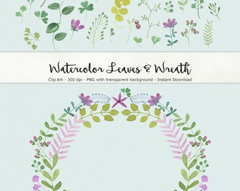 Watercolor Leaves and Wreaths Clip Art