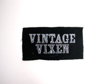 Vintage Vixen hand stamped patch, hand made patches, black and white patch