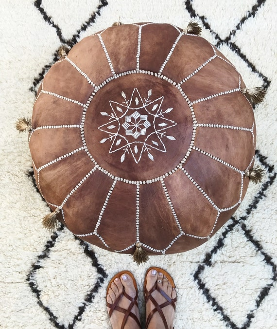 30% OFF TAN POUF Sale >>Tan Brown Moroccan Leather Pouf with Tassels>> Pouffe,Foot Stool,wedding gifts,gifts, home decor, ottoman, moroccan