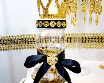 Superior BLACK And GOLD Prince/Princess Crown Baby Shower Centerpiece / Perfect For  Black And Gold