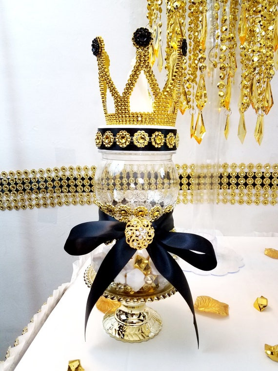 Black and gold prince princess crown baby shower