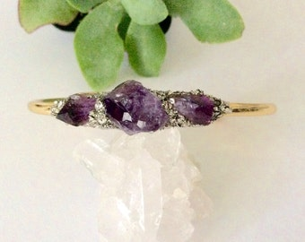 Raw Amethyst Cuff Bracelet/ February Birthstone/ Raw Crystal Jewelry/ Springtime Raw Stone Stackable Bracelet