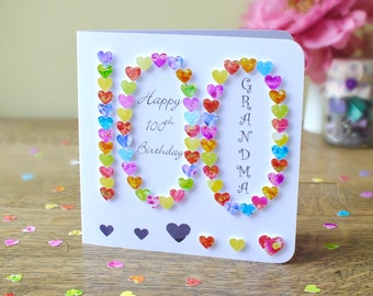 100th Birthday Card, Personalised Handmade 3D '100' One Hundred, 100th Card, Age 100 Card, Sister, Mother, Father, Mum, Dad, BHA100